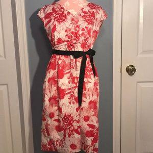 Motherhood Maternity Cap Sleeve Pink Floral Dress